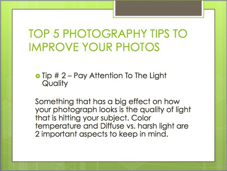 top 5 photography tips to improve your photos - slide.