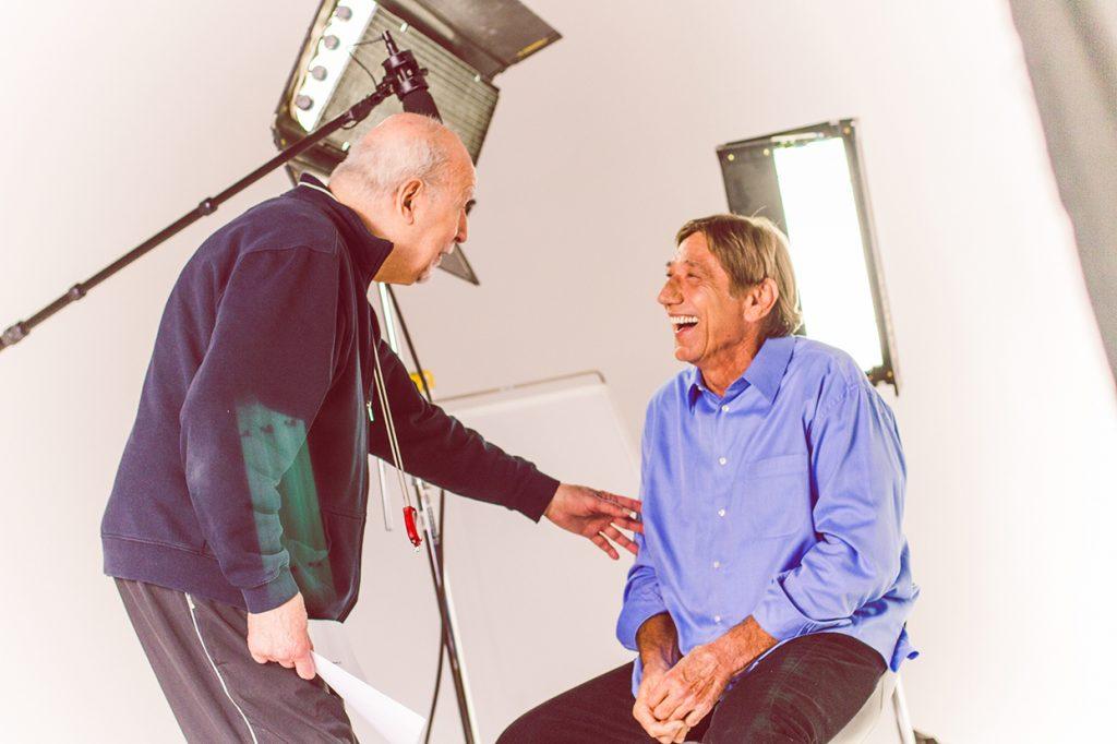 George Lois & Joe Namath sharing a conversation