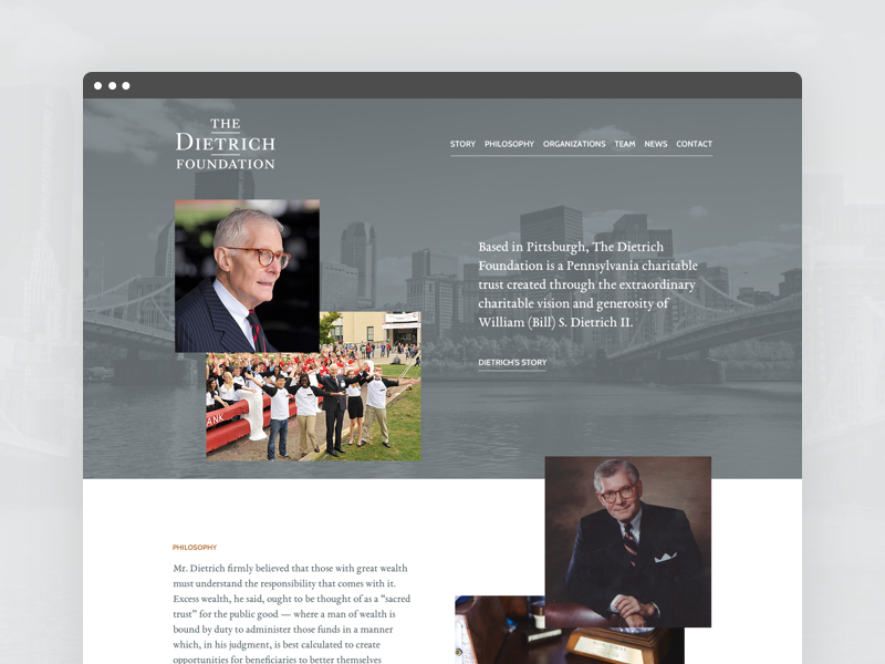Screenshot of the Dietrich Foundation Homepage
