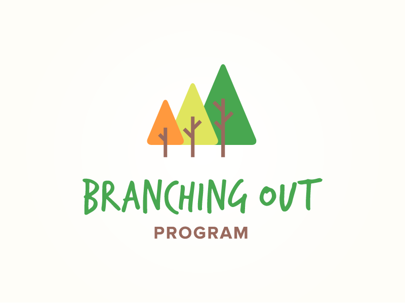"Logo with three trees in order of smallest to largest in orange, light green and dark green. The text below reads ""Branching Out Program"" in all caps."