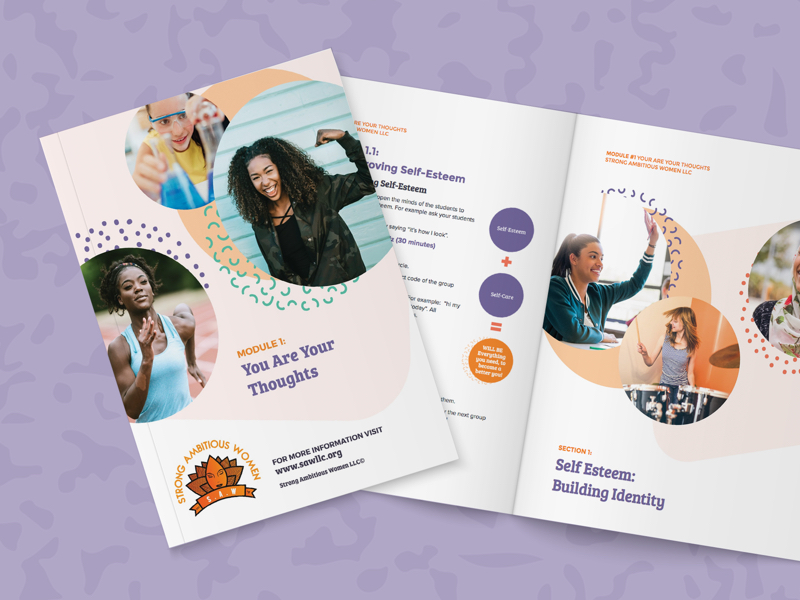 Cover of the Strong Ambitious Women Curriculum featuring 3 photos of young women participating in sports and science activities