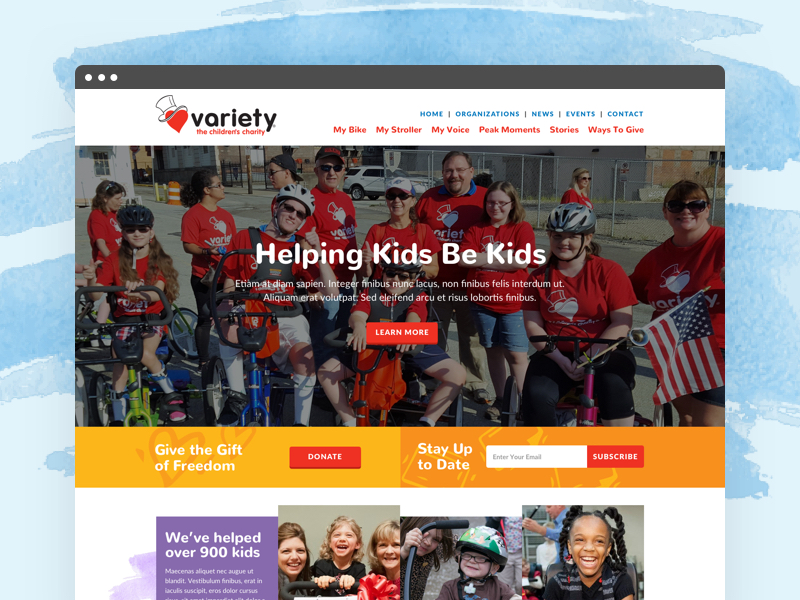 Screenshot of the Variety Kids Pittsburgh homepage design